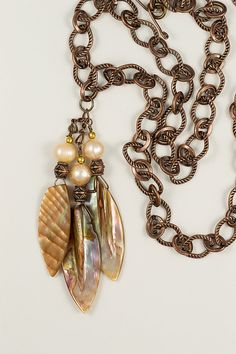 Shells and Freshwater Pearls Pendant Necklace in by gaiasjewels