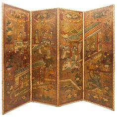 18th c. Portuguese Screen with Chinese Palatial Scenes | From a unique collection of antique and modern screens at http://www.1stdibs.com/furniture/more-furniture-collectibles/screens/