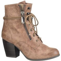 maurices Hayden Lace-Up Bootie In Taupe (132.660 COP) ❤ liked on Polyvore featuring shoes, boots, ankle booties, zapatos, ankle boots, beige, short boots, short lace up boots, lace up ankle boots and lace up high heel boots