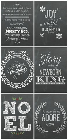 6 free Christmas Chalkboard Printables! Perfect for last minute, budget friendly decorating!