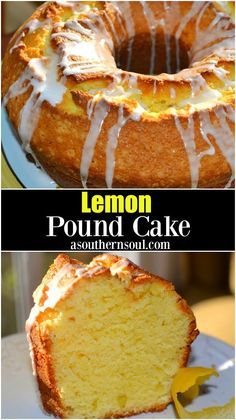 Lemon Pound Cake - A Southern Soul Lemon Pound Cake is tender, and full of lemony flavor. This classic recipe is updated with fresh squeezed lemon juice and lemon zest for a slice of sunshine in every bite! Food Cakes, Cupcake Cakes, Pound Cake Cupcakes, Southern Pound Cake, Baking Recipes, Dessert Recipes, Sour Cream Pound Cake, Cakes Plus, Pound Cake Recipes