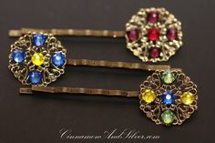 Geometric Rhinestone Hair Accessories, Vintage Inspired Jeweled Hair Pins, Vintage Style Wedding or Special Occassion Bobby Hair Pins by CinnamonandSilver on Etsy