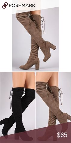 """Suede Over The Knee Boots I recommend going up half a size since it runs about a half size small I am true to size 8 and wear the 8 1/2 Heel:3"""" Collar drawstring Pull on construction Faux suede material Feel free to ask me any questions Thanks for browsing my closet! Shoes Over the Knee Boots"""