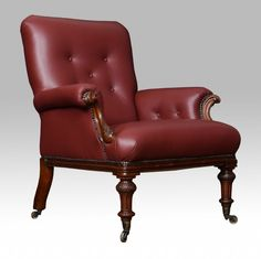 Victorian mahogany and burgundy leather library armchair