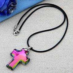 Multicolor Crystal Glass Cross Necklace Pendant
