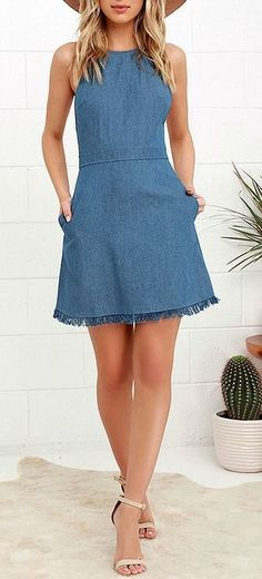 Pick the perfect spot in the park to show off the Sunny Spot Blue Chambray Halter Dress! A tying halter neckline tops off this adorable chambray dress with a frayed hem. Cute Dresses, Casual Dresses, Short Dresses, Denim Dresses, Halter Dress Casual, Denim Skirt, Chambray Dress, Jeans Dress, Denim Fashion