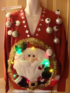 ugly holiday sweaters | Tacky 3D Ugly Christmas Sweater Mens Puffy Santa with Lights. NOT!