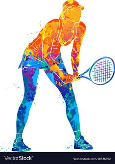 Abstract tennis player with a racket from splash of watercolors. Vector illustration of paints. Racquet Sports, Tennis Racket, Tennis Wallpaper, Tennis Drawing, Volleyball, Cycling Art, Cycling Quotes, Cycling Jerseys, Tennis Equipment