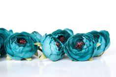 10 Small Ranunculus in Teal - silk artificial flower - ITEM 01181