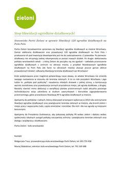 Stop likwidacji ogródków działkowych!  Stanowisko Partii Zieloni w sprawie likwidacji 120 ogrodów działkowych na Psim Polu