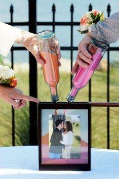 Interessante usar a foto pra jogar a areia colorida na hora da cerimônia
