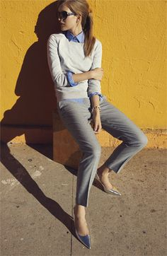 Preppy with the combo shirt/sweater/classic pants but with a bit of edge with some fierce pumps <3