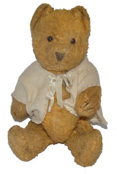 """Old Teddy Bear Mohair Wonderful Face Jointed Glass Eyes 12"""" Tall Cabinet…"""