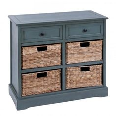Copy of Tall Grey Wood Cabinet with 4 Wicker Basket Drawers