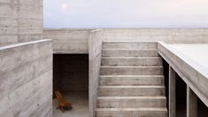 Monolithic concrete steps evocative of ancient Aztec temples surround open-air living spaces and gardens at the heart of this holiday home in Oaxaca.