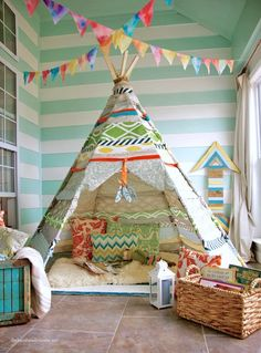 Whimsical Playroom | Kids Room | Bunting Decor | Indoor Camping | Teepee Tent | Playroom Design | Home Decor