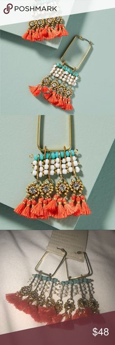 Anthropologie Coral Reef Earrings NEW! Silk thread, crystals, plated brass elements. Just lovely! No trades or lowball offers please. Anthropologie Jewelry Earrings