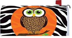 Leopard Print Owl with Zebra Stripes Mailbox Cover Fall Mailbox, Mailbox Makeover, Magnetic Mailbox Covers, Owl Crafts, Outdoor Flags, Decoration, Wraps, Stripes, Handmade Gifts