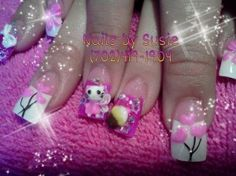 3D nails of Hello Kitty Designs