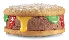 Carl's Jr. Testing an 'Ice Cream Burger'? Fast Food May 2012 // pm // By: Elie Ayrouth 3 inShare Ice cream lovers, sound the horns, it looks like Carl's Jr. is testing an Ice Cream Brrrger Weird Ice Cream Flavors, Bbq Desserts, Fancy Desserts, Frozen Desserts, Sushi, Sandwiches, Carl's Jr, Good Food, Yummy Food