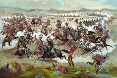 """A print depicting """"Custer's Last Stand"""" as an advertisement for Custer & Son - Saddler."""