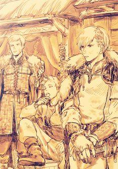 by a-tsute on DeviantArt Denmark Hetalia, Norway Hetalia, Nordics Hetalia, Hetalia Funny, Hetalia Fanart, Hetalia Characters, Fictional Characters, Dennor, Spamano