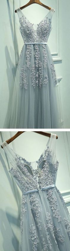 A-line V neck Lace Appliques Tulle Prom Dress Evening Dress,Prom dress,265