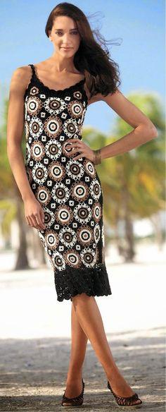 crochelinhasagulhas: Vestido marrom e branco em crochê