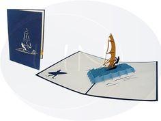 Aufklappbare POP UP Geburtstagskarte mit Windsurfer . Mehr entdecken auf: www.lin-popupkarten.de Pop Up Karten, Surfer, Playing Cards, Creative, Postcards, Gift Cards, Crafts, Playing Card Games, Game Cards