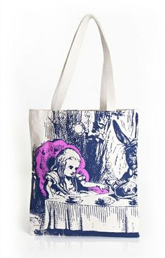 Have totes, books will travel (in style). Canvas book bags with your favorite classic book art. An Out of Print adaptation of classic Alice in Wonderland illustrations by Sir John Tenniel.
