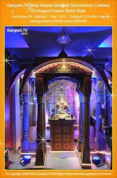 Nishit Shah Home Ganpati Picture 2015. View more pictures and videos of Ganpati Decoration at www.ganpati.tv