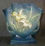 Roseville Pottery vase with popular Zephyr Lilly motif