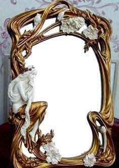 Spiegel im Jugendstil Nymphe Standspiegel Dekospiegel Shabby chic Palazzo Exklusiv Mobiliário Art Nouveau, Art Nouveau Interior, Art Nouveau Furniture, Art Nouveau Design, Mirror Painting, Mirror Art, Muebles Estilo Art Nouveau, Mirrored Picture Frames, Jugendstil Design