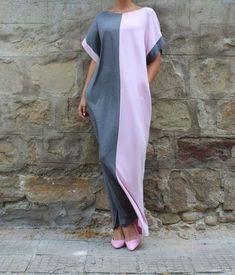 Gray Caftan Dress Maxi Dress Abaya Dress by cherryblossomsdress Casual Summer Dresses, Trendy Dresses, Day Dresses, Nice Dresses, Dress Casual, Dress Summer, Simple Hijab, Hijab Casual, Caftan Dress