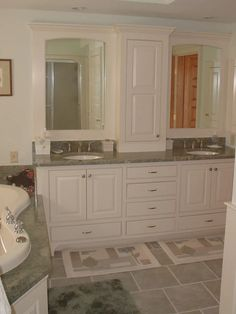 double vanity with center tower