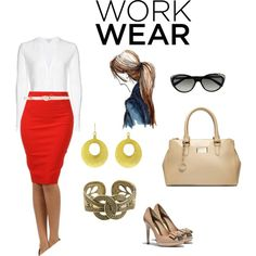 red pencil skirt / work outfit
