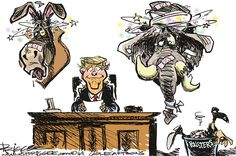 Milt Priggee - www.miltpriggee.com - End of the road - English - Donald Trump, politics, 2016 elections, democrats, republicans, GOP, conservatives, United States, America, president, pollsters,