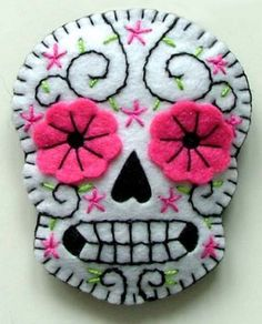 Embroidered on felt - day of the dead calavera