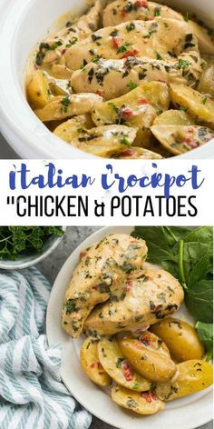 This Creamy Italian Crockpot Chicken and Potatoes is simmere. - Food RecipesThis Creamy Italian Crockpot Chicken and Potatoes is simmered in the most incredible creamy sauce of roasted red peppers, spinach and Italian herbs. It's a dump and go slow Top Crockpot Recipes, Beef Recipes, Cooking Recipes, Summer Crock Pot Recipes, Lasagna Recipes, Cod Recipes, Kale Recipes, Noodle Recipes, Family Recipes