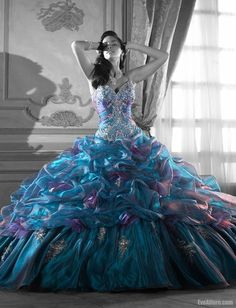 blue purple ballgown