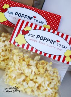 POPCORN Love Bag Toppers Valentine Cards DIY  Digital Bag Toppers U PRINT on Etsy, $3.50