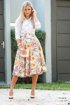 Modest Floral Midi Skirt