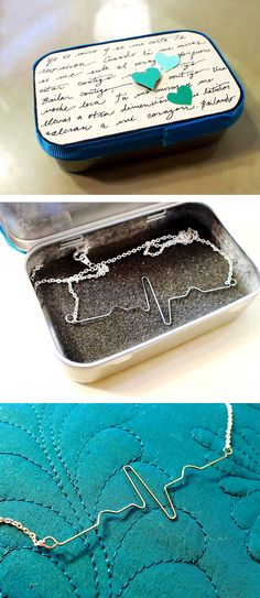 Altoid tin turned jewelry box and EKG necklace made with wire!