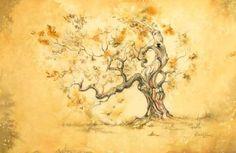 David Evans - Golden Ochre Oak Coloured Pencil and Watercolour