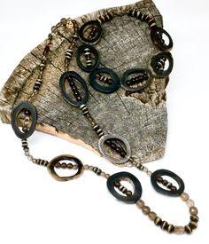 Water Buffalo Horn, Ox Bone & Smokey Quartz Necklace