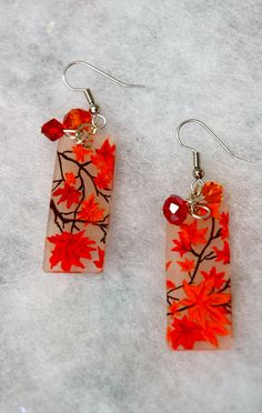 Handmade Autumn, Fall leaf shrink plastic earrings  by GreenInspiredDesigns, via Etsy.