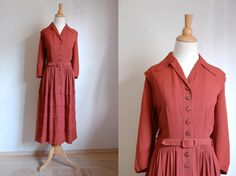 Vintage 1940s Burgundy Rayon Day Dress with Pleated, Tiered, Tucked skirt