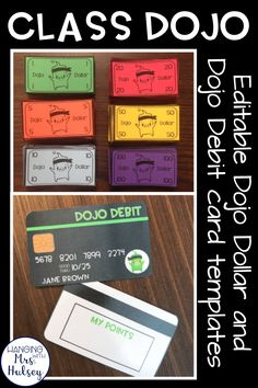 Dojo rewards can be free and promote good behavior in any classroom! These editable dojo dollar or dojo debit/credit card templates work well with a classroom economy system-- and it's easy to implement and keep track o points! Class Dojo Rewards, Student Rewards, Kids Rewards, Classroom Rewards, Classroom Management Strategies, Behavior Management, Future Classroom, Classroom Organization, Class Management