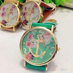 Women's New Perfect Faux Leather Floral Printed Anchor Quartz Dress Wrist Watch