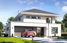 Projekt domu piętrowego Orkan o pow. 178,92 m2 z obszernym garażem, z dachem kopertowym, z tarasem, z antresolą, sprawdź! House Layout Plans, House Layouts, House Plans, Modern Home Interior Design, Modern House Design, Two Story House Design, Garage House, Modern Architecture, House Styles